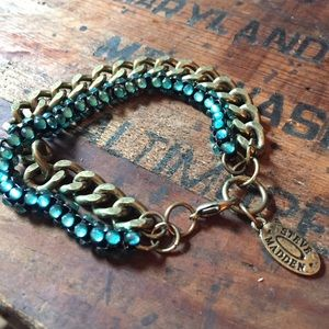 Steve Madden blue & antique gold bracelet